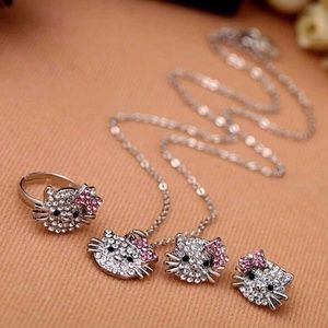Hello Kitty Rhinestone Necklace Ring Earrings Set
